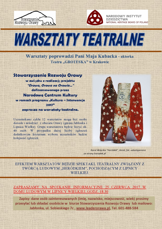 WARSZTATY TEATRALNE 2017 – ZAPROSZENIE